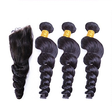 baratos Extensões de Cabelo Natural-3 pacotes com fechamento Cabelo Peruviano Ondulação Larga 10A Cabelo Virgem Cabelo Humano Ondulado Tramas de cabelo humano Extensões de cabelo humano