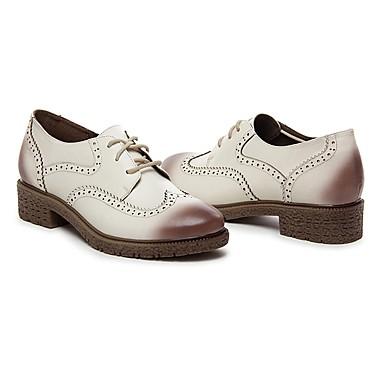 06535713 Chaussures Confort Vin Cuir Bleu rond Eté Marron Femme Printemps Oxfords Talon Bottier Bout O1UTqTwA