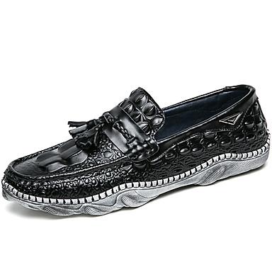 בגדי ריקוד גברים מוקסין עור נאפה Leather אביב / סתיו נוחות נעליים ללא שרוכים לבן / שחור / מסיבה וערב