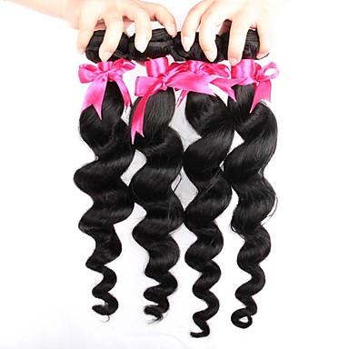 baratos Extensões de Cabelo Natural-4 pacotes Cabelo Brasileiro Ondulação Larga 8A Cabelo Humano Cabelo Humano Ondulado Tramas de cabelo humano Extensões de cabelo humano Mulheres