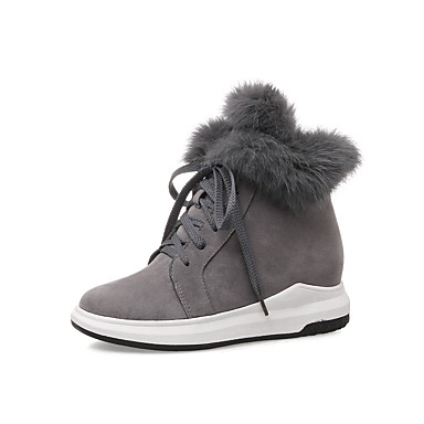בגדי ריקוד נשים נעליים עור נובוק אביב / סתיו מגפיים מגפיים מטפסים בוהן עגולה מגפונים\מגף קרסול שחור / אפור