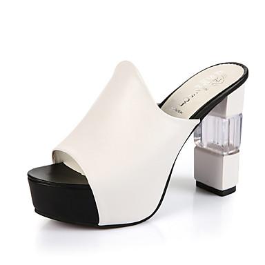 Mulheres Sapatos Borracha Verão Conforto Sandálias Salto Robusto Tachas Presilha para Ao ar livre Branco Preto Vermelho