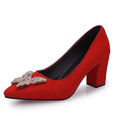 בגדי ריקוד נשים נעליים PU אביב נוחות עקבים חסום את העקב בוהן מרובעת שחור / חום / אדום