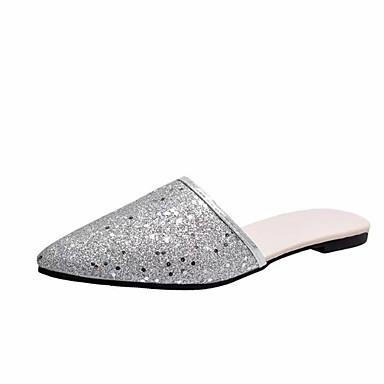 Mujer Zapatos Lentejuelas Verano Confort Zapatillas y flip-flops Tacón Plano Dorado / Negro / Plata kBskOC9T4