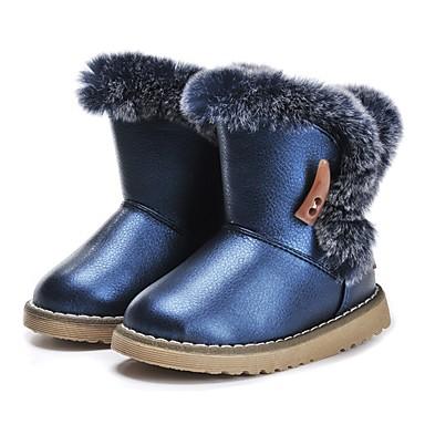 בנות נעליים דמוי עור חורף נוחות / מגפי שלג מגפיים נוצות / פרנזים ל כחול כהה