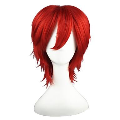 פאות סינתטיות ישר אדום שיער סינטטי אדום פאה ללא מכסה אדום