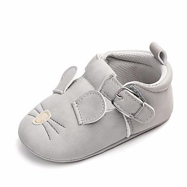 baratos Sapatos de Criança-Para Meninas Courino Rasos Conforto / Primeiros Passos / Sapatos de Berço Laço / Velcro Cinzento Escuro / Cinzento Claro Primavera