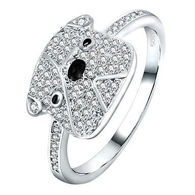 billige Motering-Dame Band Ring / Evigheten Ring / Micro Pave Ring Kubisk Zirkonium 1pc Sølv Zirkonium / Sølv Geometrisk Form Tegneserie Gave / Daglig Kostyme smykker