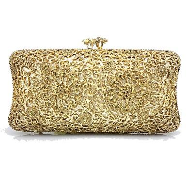 billige Vesker-Dame Krystalldetaljer Plast / Metall Aftenveske Rhinestone Crystal Evening Bags Geometrisk Gull / Sølv