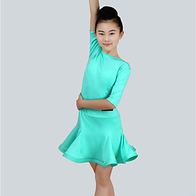 ריקוד לטיני שמלות בנות הצגה ספנדקס סלסולים חצי שרוול שמלה