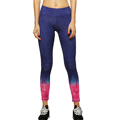 Women's Yoga Pants - Red, Blue Sports Color Gradient Pants / Trousers / Tights / Leggings Running, Fitness, Gym Activewear Quick Dry, Breathable, Compression High Elasticity