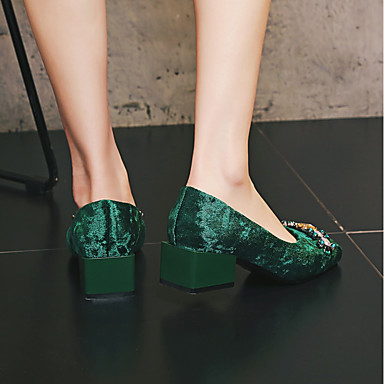 Talon 06551687 Femme à Talons Velours Chaussures Confort carré Bottier Vert Chaussures Bout Noir Cristal Printemps Automne fHqnBTf