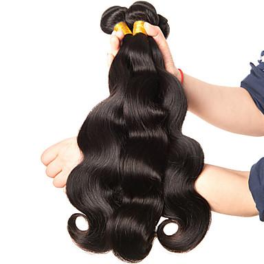 baratos Extensões de Cabelo Natural-3 pacotes Cabelo Brasileiro Onda de Corpo 10A Cabelo Virgem Cabelo Humano Ondulado 8-28 polegada Tramas de cabelo humano Extensões de cabelo humano