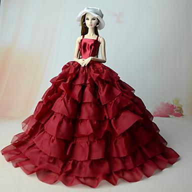 שמלות בחתיכה אחת ל ברבי דול אדום שילוב כותנה/פשתן שמלה ל הילדה של בובת צעצוע