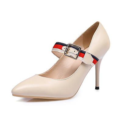 בגדי ריקוד נשים נעליים עור אביב / סתיו נוחות עקבים עקב סטילטו אבזם שחור / שקד / מסיבה וערב