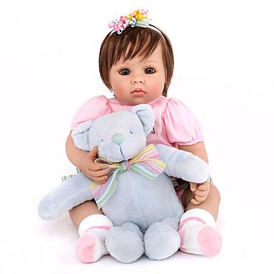 NPK DOLL בובה מחדש תינוקות בנות 20 אִינְטשׁ סיליקון / ויניל - כְּמוֹ בַּחַיִים, ריסים ידניים, ציפורניים אטומות וחותמות הילד של בנות מתנות / CE / עור טבעי / ראש דיסקט
