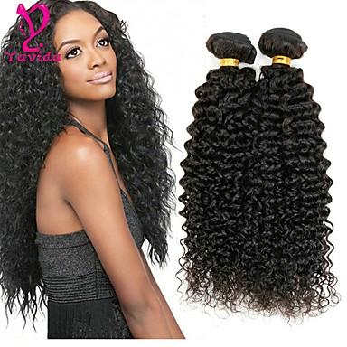 4 חבילות שיער פרואני Kinky Curly שיער אנושי טווה שיער אדם שוזרת שיער אנושי תוספות שיער אדם / קינקי קרלי