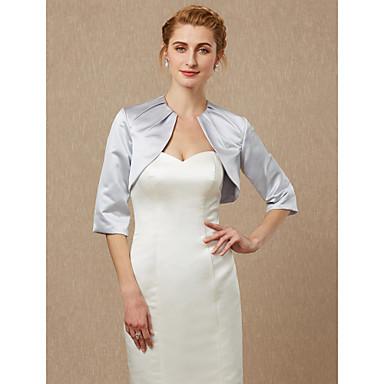 חצי שרוול סאטן חתונה / מסיבה\אירוע ערב כיסויי גוף לנשים עם סלסולים בולרו