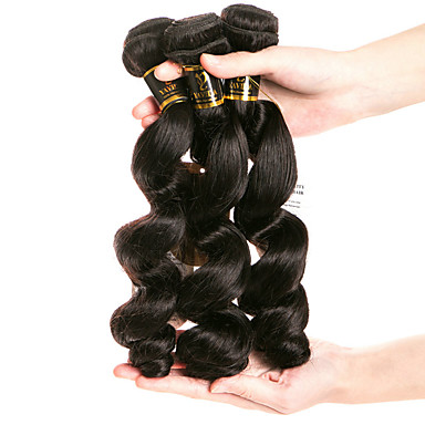 baratos Extensões de Cabelo Natural-3 pacotes Cabelo Brasileiro Ondulação Larga 8A Cabelo Humano Cabelo Humano Ondulado Tramas de cabelo humano Extensões de cabelo humano