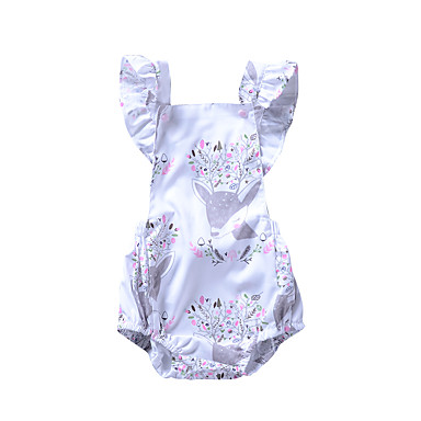 חולצה ללא שרוולים גב חשוף / קפלים פרחוני / חיה חגים פעיל בנות פעוטות / חמוד