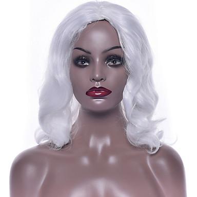 פאות סינתטיות גלי שיער סינטטי פאה אפרו-אמריקאית לבן פאה 14-17 אינץ' ללא מכסה לבן
