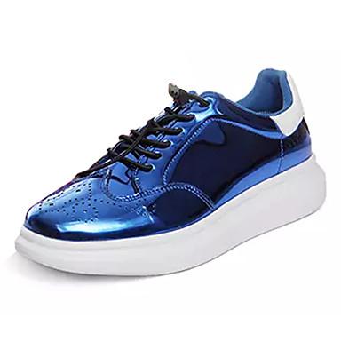בגדי ריקוד נשים נעליים עור פטנט אביב / סתיו נוחות נעלי ספורט שטוח בוהן עגולה אפור / אדום / כחול