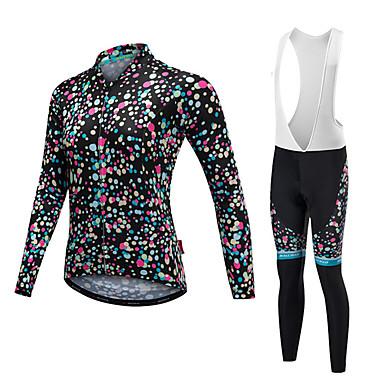 Malciklo Damskie Długi rękaw Koszulka i spodnie z szelkami na rower - White Black Rower Zestawy odzieży, Keep Warm, Quick Dry,