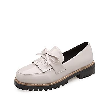 בגדי ריקוד נשים נעליים הגדילים PU אביב נוחות נעליים ללא שרוכים שטוח בוהן עגולה פפיון שחור / בז' / בורדו