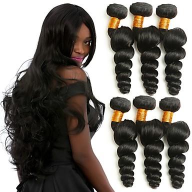 baratos Extensões de Cabelo Natural-6 pacotes Cabelo Brasileiro Ondulação Larga 8A Cabelo Humano Cabelo Humano Ondulado Tramas de cabelo humano Natal Melhor qualidade Jovem Extensões de cabelo humano Mulheres