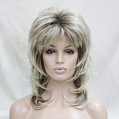 Synthetische pruiken Golvend Gelaagd kapsel / Met pony Synthetisch haar Blond Pruik Dames Medium Zonder kap