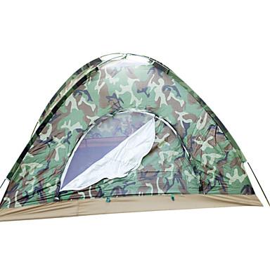 2 personer Turtelt / Familie Camping Telt Dobbelt Lagdelt Stang Kuppel camping Tent Utendørs Vanntett, Regn-sikker, Hold Varm til Jakt / Strand / Camping Glassfiber, Oxford, Bomull / Ultra Lett (UL)
