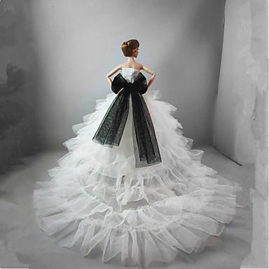 שמלות שמלה ל ברבי דול לבן שילוב כותנה/פשתן סטן\טול שמלה ל הילדה של בובת צעצוע