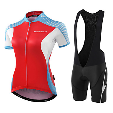 Malciklo Women's Short Sleeve Cycling Jersey with Bib Shorts Red / White Black / Red Geometic Leaf Bike Jersey Bib Tights Padded Shorts / Chamois Breathable Anatomic Design Reflective Strips