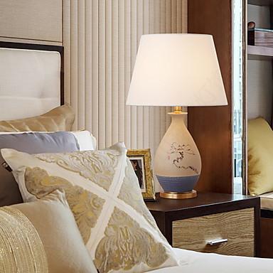 מודרני / עכשווי דקורטיבי מנורת שולחן עבור חדר שינה קרמיקה לבן