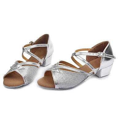 Chaussures Latines Paillette Brillante / Similicuir Boucle   / Talon Boucle Similicuir Talon Bottier Personnalisables Chaussures de danse Argent 701f76
