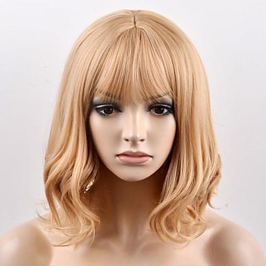 Synteettiset peruukit Luonnolliset aaltoilevat Suojuksettomat Naisten Vaaleahiuksisuus Carnival Peruukki Halloween Peruukki Luonnollinen