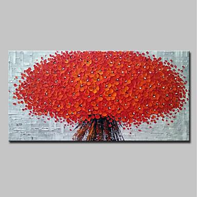 ציור שמן צבוע-Hang מצויר ביד - 3D פרחוני / בוטני מודרני בַּד