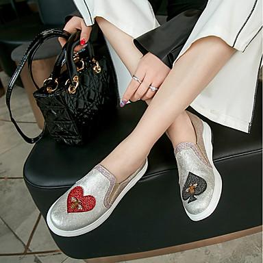 D6148 Talon Printemps 06552556 Similicuir Mocassins Argent Noir Femme Chaussures rond Automne Plat Confort Bout Chaussons Billes et q8ggzEaxn