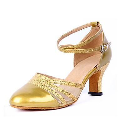 בגדי ריקוד נשים נעליים מודרניות טול / דמוי עור סנדלים עקב עבה מותאם אישית נעלי ריקוד זהב / שחור / כסף / בבית
