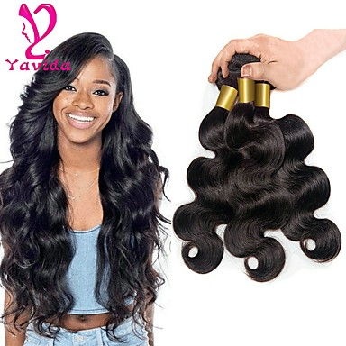 3 Bundles Brazilian Hair Body Wave Virgin Human Hair Natural Black Human  Hair Weaves   Human Hair Extensions 8-28 inch 150g For Black Women   8a    Shedding ... ffec91c6a2