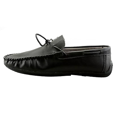 Men's Moccasin PU(Polyurethane) & Spring / Fall Loafers & PU(Polyurethane) Slip-Ons Black / Brown / Khaki 238970