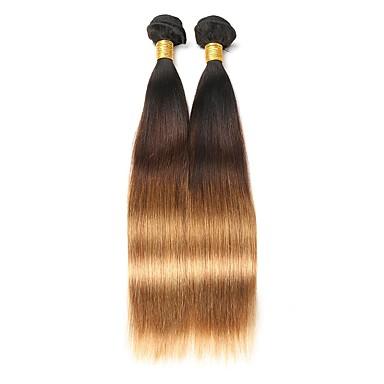 2 חבילות שיער ברזיאלי ישר שיער אנושי Ombre שוזרת שיער אנושי איכות מעולה / הגעה חדשה תוספות שיער אדם