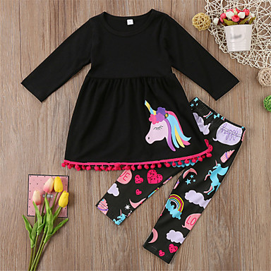 בנות ספורט ליציאה חיה סט של בגדים, כותנה אביב סתיו שרוול ארוך חמוד יום יומי בסיסי שחור