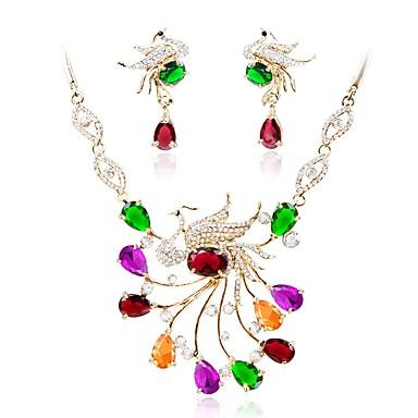 בגדי ריקוד נשים סט תכשיטים - יהלום מדומה פשוט, אופנתי לִכלוֹל שרשרת זהב עבור חתונה / Party