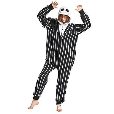 מבוגרים שלד פיג'מה אוברול תחפושות polyster שחור / לבן Cosplay ל הלבשת בעלי חיים קָרִיקָטוּרָה ליל כל הקדושים פסטיבל / חג