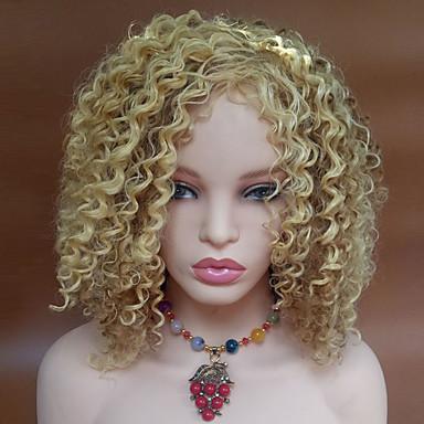 Syntetiske parykker Bølget Kinky Curly tetthet Lokkløs Dame Blond Svart Parykk Kort Syntetisk hår