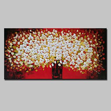 ציור שמן צבוע-Hang מצויר ביד - פרחוני / בוטני / אומנות פופ מודרני בַּד / בד מתוח