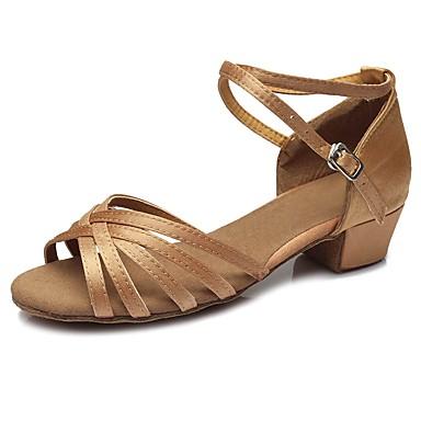 נעליים לטיניות סטן סנדלים / עקבים אבזם עקב עבה מותאם אישית נעלי ריקוד בז'