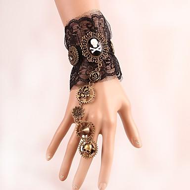 abordables Bracelet-Manchettes Bracelets Femme Résine Equipement Rétro Vintage Steampunk Cinétique Bracelet Bijoux Noir pour Soirée Quotidien