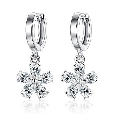 billige Moteøreringer-Dame Diamant Kubisk Zirkonium Dråpeøreringer Blomst damer Mote Elegant Zirkonium øredobber Smykker Sølv Til Daglig Seremoni